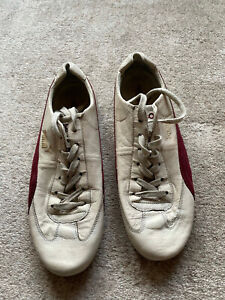 Vintage Mens Puma Speed Cat Sparco Driving Leather Trainers Size 12 Cream/Maroon