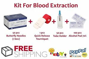 HOT SALE! Butterfly Needles + Tube Holder Vacutainer + Alcohol Pads + Tourniquet