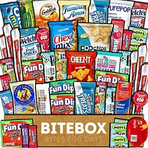 BiteBox Care Package 45 Count Snacks Food Cookies Granola Bar Chips Candy Ult...