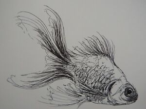 Original Pen & Ink fish drawing sketch of a goldfish on ivory white smooth paper