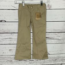 Lands End Girls Sz 4 Khaki Dress Pants Flare School Uniform Boot Cut E106