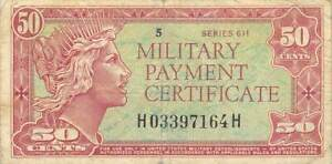USA / MPC  50  Cents  1961  Series  611  Plate  # 5  Circulated Banknote MM