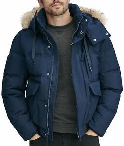 $450 New Mens Marc New York Bohlen Coyote Fur Trim Ink Hooded Bomber Jacket L