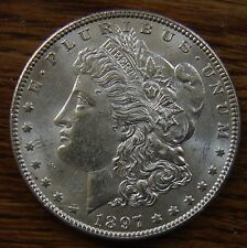 1897 SILVER MORGAN DOLLAR ABOUT UNCIRCULATED NICE COIN!