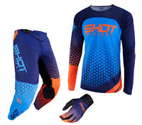 NEW 2019 SHOT DELTA PANT & JERSEY MOTOCROSS ENDURO MX COMBO KIT BLUE NEON ORANGE