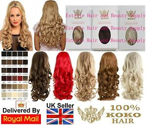 "KOKO EVA LOOSE CURL NATURAL LOOK WAVY HAIR 3/4 HALF HEAD WIG 24"" Various Colours"