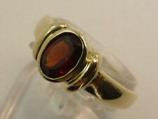 9ct Solid Yellow Gold & Oval Red Garnet Dress Ring size O½