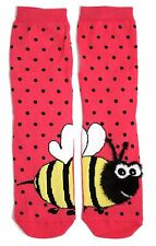 LADIES HALF A FLUFFY BUZZY BEE ON EACH FOOT DOUBLE SIDED SOCKS ONE SIZE