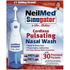 NeilMed Sinugator Cordless Pulsating Nasal Wash, 30 Premixed Packets each
