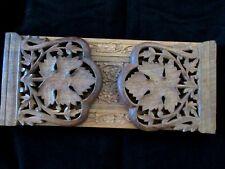 Vintage Wooden Slide Extending Book Holder Shelf Hand Carved Maple Leaf Embossed