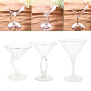 Set of 3 Vintage Style Martini Cocktail Glasses Clear Acrylic Drink Cup 3 Sizes