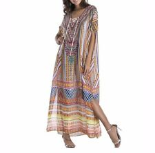 Plus Size Maxi Dress Long Ethnic Print Sheer Embellished Kaftan Size 16-18-20-22