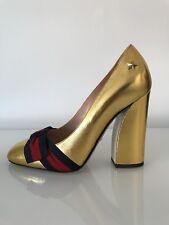 Gucci Gold metallic Web grossgrain bow heels Sylvia size 38.5 Princetown