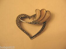 """Heart Pin Sterling Silver Mother Of Pearl Flourish 925 Marcasites Brooch 1 5/8"""""""