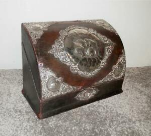 Antique Victorian Leather Bound Stationary Box W/ H/m Silver Mounted Cherubs