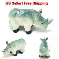 Rhino Ceramic Figurine Miniature Wild Animal Safari Rhinoceros Decor Collectible