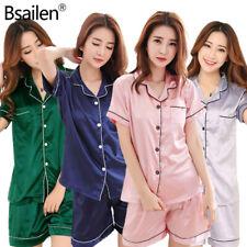 Women Silk Satin Pajamas Set Short Sleeve Button-Down Sleepwear Home Loungewear