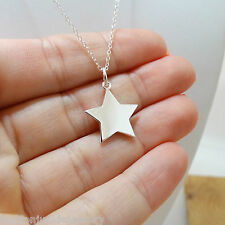 Star Necklace - 925 Sterling Silver - Celestial Galaxy Engravable Star Charm