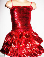 GIRLS RED SEQUIN RUFFLE EVENING DANCE SPECIAL OCCASION PARTY DRESS age 3-4