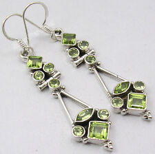8 Gemstone DESIGNER Earrings !! 925 Solid Silver Rare PERIDOT ART Jewelry 2.1""