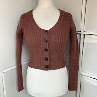 Toast Brown Cropped Cardigan Size 10 100% Wool Chunky Knit