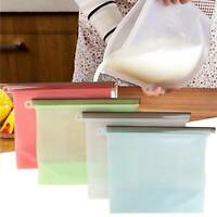 8X Reusable Silicone Food Fresh Bag Vacuum Sealer Storage Lunch Snack Bags Pouch