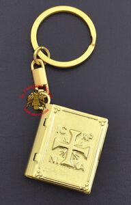 Orthodox Miniature Keyring Small Gospel Pendant 2 Designs Embossed Gold Plated