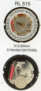 RONDA RL505 RL515 RL517 new battery quartz works movement moduel for watches
