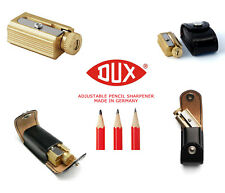 DUX Adjustable Pencil Sharpener - brass w genuine leather case, Made in Germany