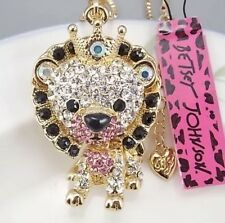 Cute NWT Betsey Johnson Necklace 🐯 Tiger King Baby Pink Gold Crystals Cutest ❤️
