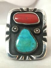 Vintage Sterling Silver Southwest Tribal Ring Turquoise Coral Size 10  17.8g