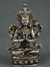 TIbet Siège 4 Bras Chenrezig Bouddha Avalokiteshvara Statue 3.5x2x5.5 CM