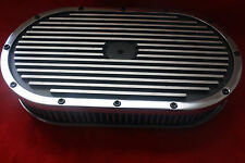 """15"""" x 2"""" Oval Black Finned Pol Alum Washable Nostalgia Air Cleaner Chevy SBC BBC"""