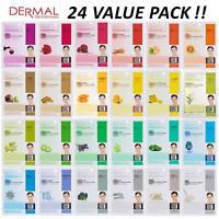 DERMAL Collagen Essence Full Face Facial Mask Sheet (Combo Pack of 24)
