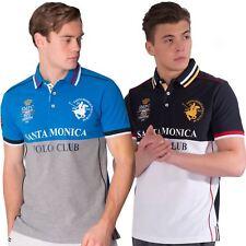 Santa Monica Polo Club Mens Plus Size Polo Shirt Short Sleeve Cotton Pique Top
