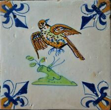 A beautiful antique Dutch Delftware Delft faience carreau tile with bird.......