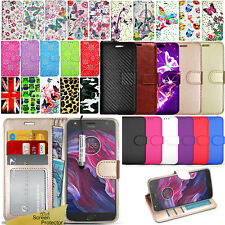 For Motorola Moto X4 4th Gen Case Wallet Leather Cover Book Flip + Protector