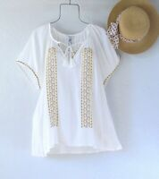 New~$59~LUCKY~Ivory Sun Yellow Peasant Blouse Embroidered Boho Plus Size Top~1X