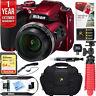 Nikon COOLPIX B500 16MP 40x Optical Zoom Wi-Fi Digital Camera (Red) +64GB Bundle