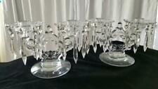 Pair Cambridge Crystal Glass Keyhole Double Candelabra Prisms Bobeche