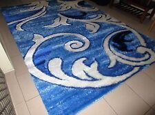 NEW BIG SIZE BLUE CARVED MODERN SOFT SHAG SHAGGY HEATSET FLOOR RUG 240X330CM