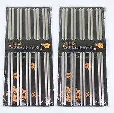 10 Pairs of Silver Stainless Steel Chopsticks USA Based Seller