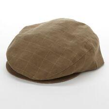 Mr Kim NYC EDDY LINEN CAP Ivy Driver Cap OLIVE Flat Bill Made Usa Sand L 58-59CM