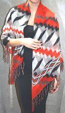 "ZARA Shawl 48"" Square Scarf Orange & Grey Shades Large Soft Light Wool & Linen"