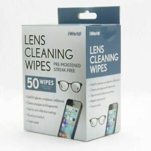 iWorld 50-Pack Lens Cleaning Wipes for Glasses, Sunglasses or Cell Phones tablet