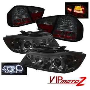 06-08 BMW E90 4DR Sedan 325i/328i Smoke Halo Projector Headlight+LED Tail Light