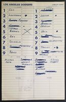 DODGERS GAME USED DUGOUT LINE-UP CARD 6/11/82 VS REDS GARVEY HR REUSS WIN #149