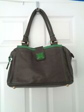 Boden Brown Leather Handbag with Green Patent Trim & Dust Bag