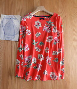 New ex JOULES UK Size 22 Red Floral Harbour Swing Jersey Top