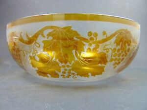 6tlg. Jugendstil Schalensatz mit gelben Überfang geätztes Dekor um 1910